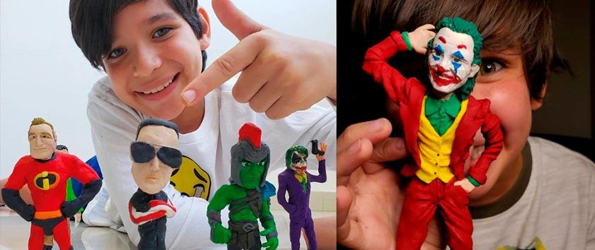 A sua família é pobre e não pode comprar brinquedos para ele: com 10 anos este menino faz sozinho os seus heróis de plástico